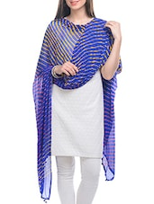 Blue, Yellow Chiffon Leheria Dupatta - By