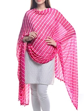 White, Pink Chiffon Leheria Dupatta - By