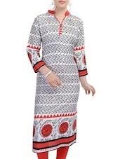 White, Orange Rayon Long  Kurta - By