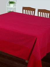 Dhrohar Hand Woven Cotton Table Cover For 4 Seater Table - Pink Check - By