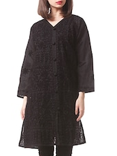 Black Cotton Chikankari Kurta - By