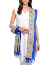 Royal Blue Art Silk Madhubani  Dupatta - By