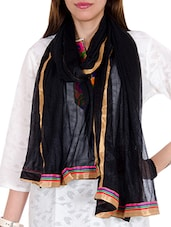 Black Net Plain  Dupatta - By