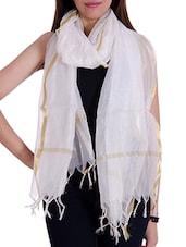 White Silk Blend Plain  Dupatta - By