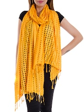 Yellow Cotton Plain  Dupatta - By