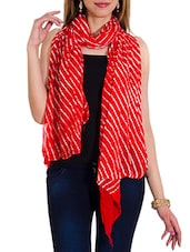 Red Chiffon Leheria Dupatta - By