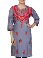 Grey Cotton Chikankari Kurta - By