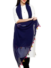 Dark Blue Georgette Duppata With Multicolor Pom Pom Border - By