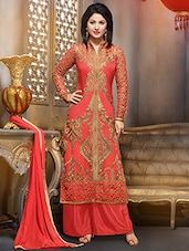 orange Georgette  semistitched suit set -  online shopping for Dress Material