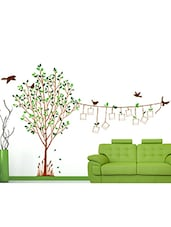 Wall Stickers Family Tree Living Room Decal With Blank Photo Frames Hanging On String And Birds - By