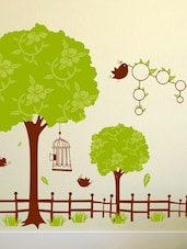 Wall Stickers Jungle Theme Trees And Fence For Kids Room Decoration With Round Photo Frames Vinyl Decal - By