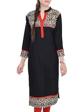 Black , Orange Rayon Long  Kurta - By