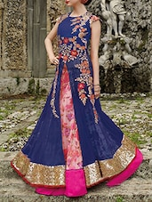 blue net anarkali suits semistitched suit -  online shopping for Semi-Stitched Suits
