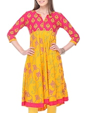 Yellow Pink Color, Cotton Printed A- Line Kurta - By