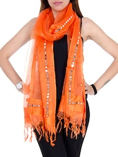Orange Tissue Plain  Dupatta - By