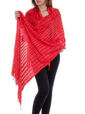 Red Staple Cotton Plain  Dupatta - By