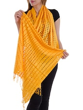Yellow Staple Cotton Plain  Dupatta - By