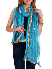 Blue Shimmer Plain  Dupatta - By