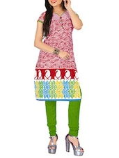 Maroon & White Cotton Regular Kurta - By