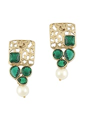 Green Stone Embellished Gold Earrings -  online shopping for Sets