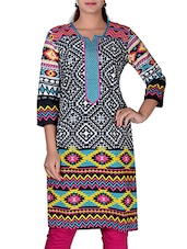 Only Black And Grey Cotton Kurta In Geometric Print With Resham Embroidery On Shoulders And Neck - By