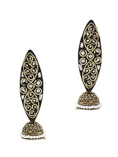 Black & Golden Metal Alloy, Thread, German Silver Earring - By