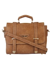 tan leatherette satchel -  online shopping for Satchels