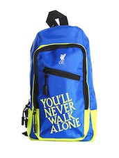 blue colored, Polyester printed backpack -  online shopping for Backpacks