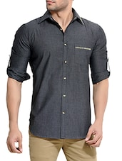 solid charcoal grey cotton casual shirt -  online shopping for casual shirts