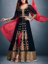 black georgette semistitched suit -  online shopping for Semi-Stitched Suits