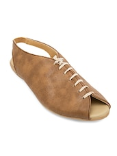 brown leatherette flats -  online shopping for flats