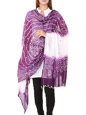 Purple&white Cotton Dupatta - By