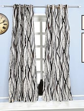Style Homez Contemporary Jacquard Natural Jute  and Brown Eyelet Curtain -  online shopping for Curtains