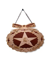 Multicoloured Wood Carved Christmas Wall Hanging - By