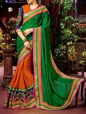 Green & Orange Georgette Embroidered Half & Half Saree -  online shopping for Sarees