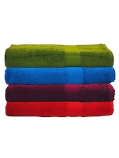 Trident Multicolured Cotton Bath Towel Set of 4 -  online shopping for towels
