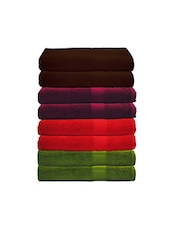 Trident Multicolured Cotton Bath Towel Set of 8 -  online shopping for towels