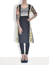 Black Floral Printed Cotton And Chiffon Kurta - By
