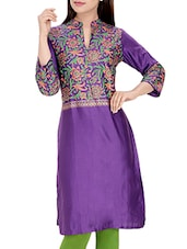Purple Cotton  Regular Kurta - By