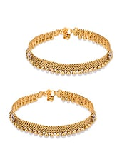 Gold Alloy, Stone Work, Beads Anklets And Payal - By