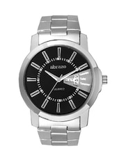 black colored metal alloy quartz watch, with date and day display -  online shopping for Analog Watches