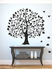 Hand Drawn Big Tree And Birds Multi Color Wall Stickers - By