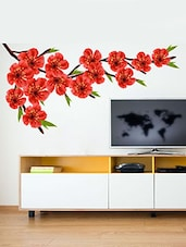 Red Floral Multi Color Wall Stickers - By
