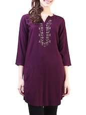 Purple Rayon Regular Kurta - By
