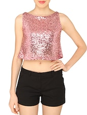 ASHTAG Pink Sequins Crop Top -  online shopping for Tops