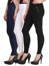 multicolor cotton lycra jeggings -  online shopping for Jeggings