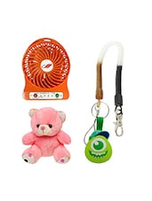 "Novel Orange Color Dc Fan 3 Cum Speed, 6 ""Teddy Bear With Monster Keychain Combo - By"