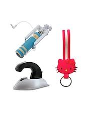 Novel Mini Selfie Stick , Kitty Keychain With Mini Iron Combo - By