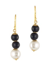White And Black Brass Earring - By