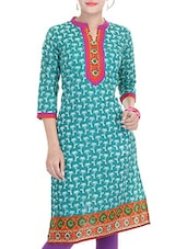 Teal Green, Purple Cotton Long  Kurta - By